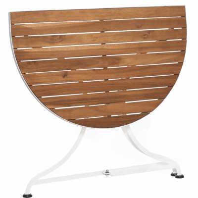 Skládací stolek balkonový bílý/hnědý