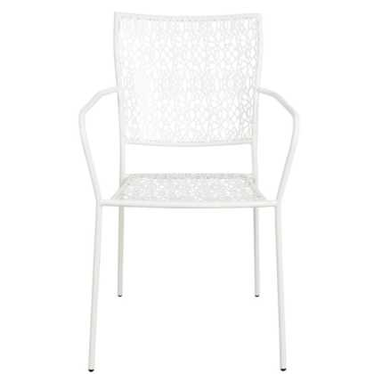 Bílá židle s područkami Nancy