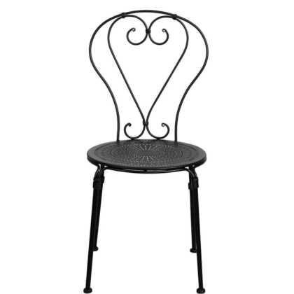 Kovová červná židle ozdobná