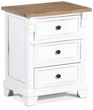 Bílý noční stolek z masivního dřeva s mosaznými úchyty