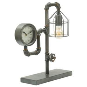 Industriální stolní lampa s hodinami